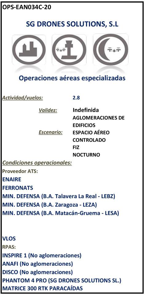 Autorización de AESA a SG drones para operaciones especializadas de vuelo de drones