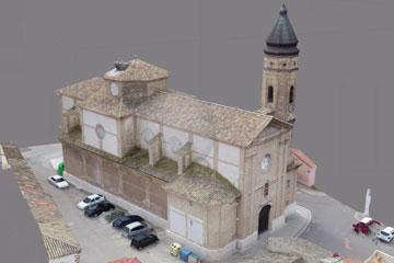 Imagen de la Fotogrametría obtenida al realizada con un modelado 3D, sobre una iglesia en la provincia de Zaragoza.