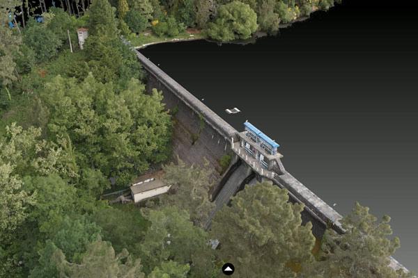 Imagen de la Fotogrametría realizada a una presa de abastacimiento de agua potable al norte de España.