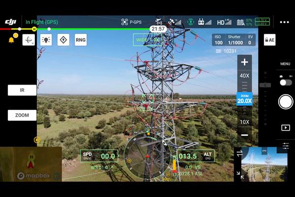 Inspección Técnica con drones usando tecnología zoom y rtk en Torre de alta tensión. Inspección muy precisa con dron.