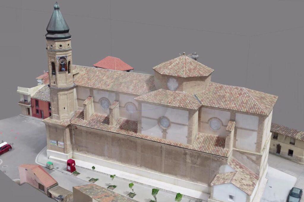 Imagen de la Fotogrametría realizada con una nube de puntos, sobre una iglesia en la provincia de Zaragoza.