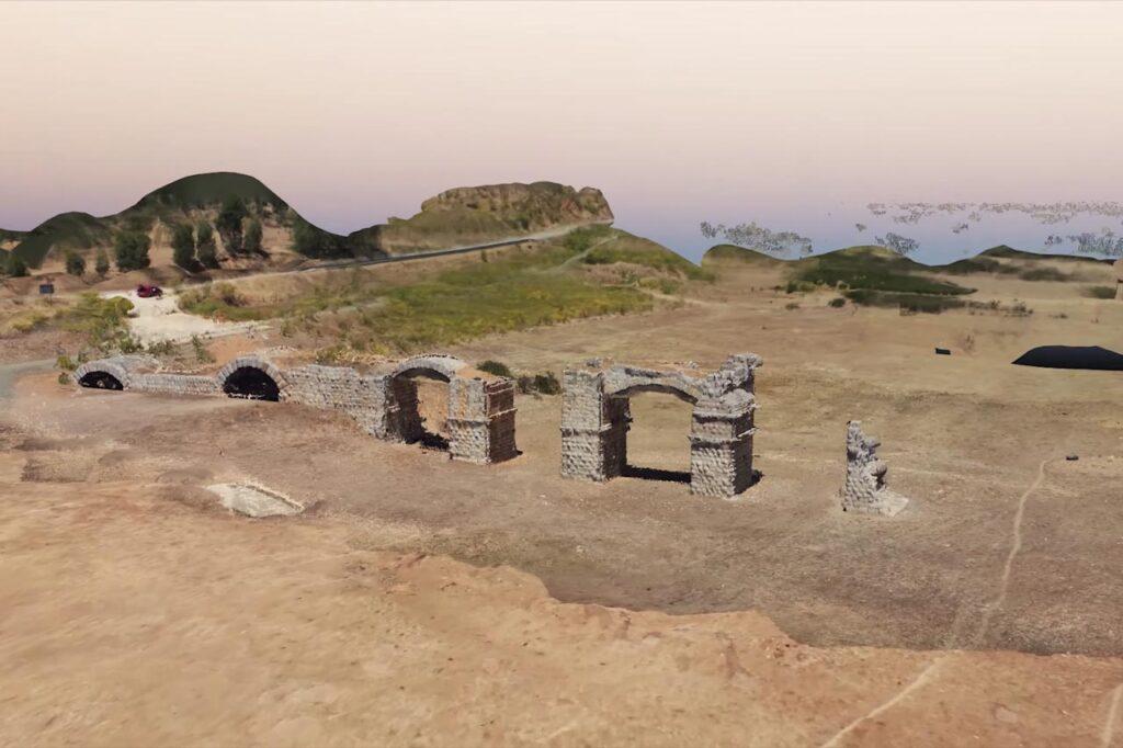 Imagen de la Fotogrametría realizada a los restos del puente romano de Alconétar en la provincia de Cáceres.